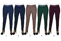 Женские брюки молодежные летние коттон, зеленые р. 52 код 3488М