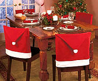 Новогодний чехол для стула шапка деда мороза 4 шт, упаковка