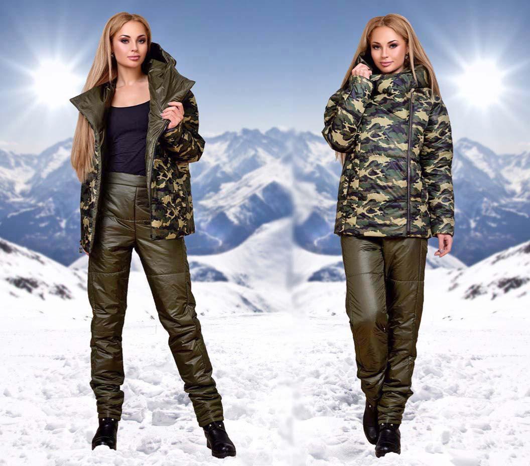 4d0ba058ce0e1 Женский стильный лыжный костюм на синтепоне с капюшоном 085