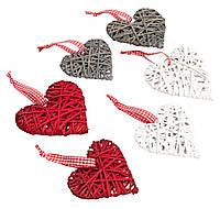 Елочная игрушка сердце дерево 6 шт