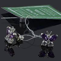 Серебряные гвоздики (пусеты) Бабочки , фото 1