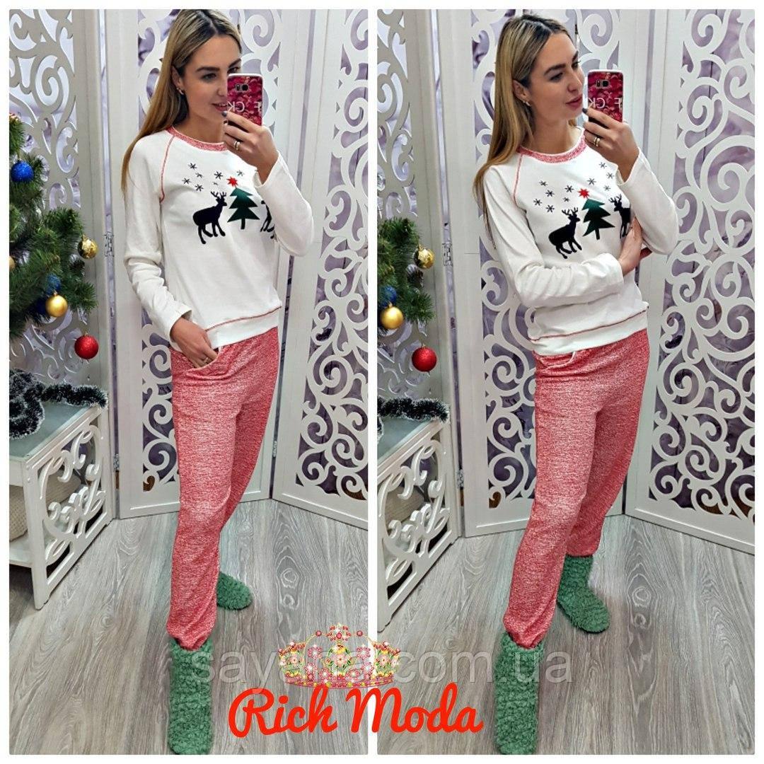 Женский домашний костюм - пижама с Рождественским принтом 6ef30798f51be