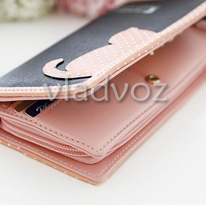 Фото женского клатча с котом органайзер кошелек для денег вид с боку