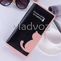 Модный женский кошелек клатч бумажник органайзер для телефона карточек денег кот черный
