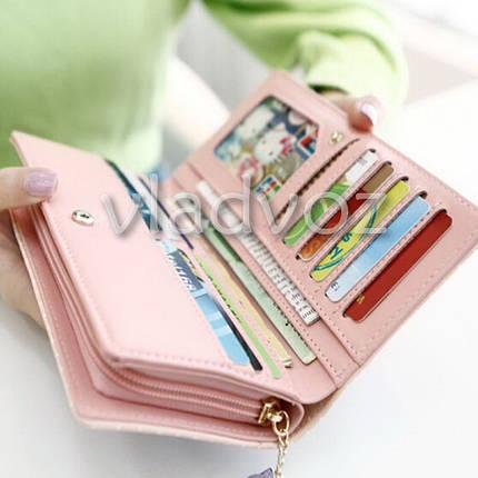 Модный женский кошелек клатч бумажник органайзер для телефона карточек денег кот голубой, фото 2