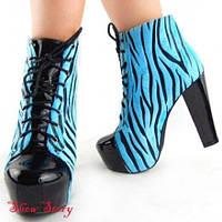 РАСПРОДАЖА! Голубая зебра ботиночки на каблуке