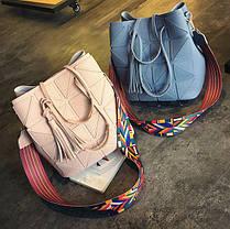 Стильный набор, сумка и клатч с красочным поясом, фото 3