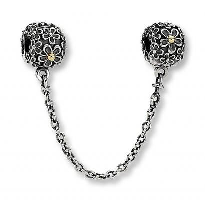 Защитная цепочка «Цветы» позолота копия Pandora