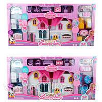 Домик для куклы детский с мебелью и машинкой 2 вида игровой набор WD-921A-C, фото 1