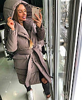 Женское модное плотное непробуваемое объемное пальто-одеяло с поясом в расцветках