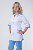 Медицинский костюм белый верх синий низ