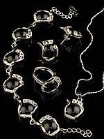 Комплект Агат серьги, подвеска, кольцо и браслет код 1311