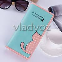 Модный женский кошелек клатч бумажник органайзер для телефона карточек денег кот мята