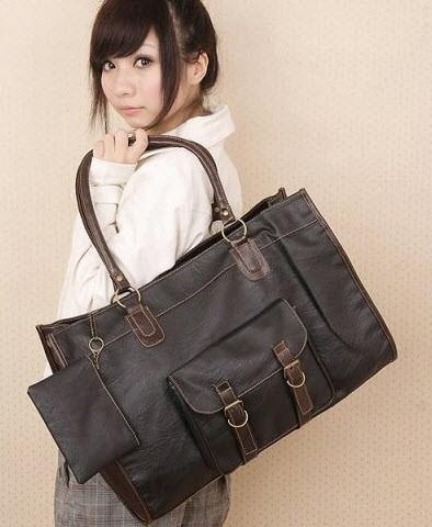 Большая женская сумка с оригинальным карманом и кошельком