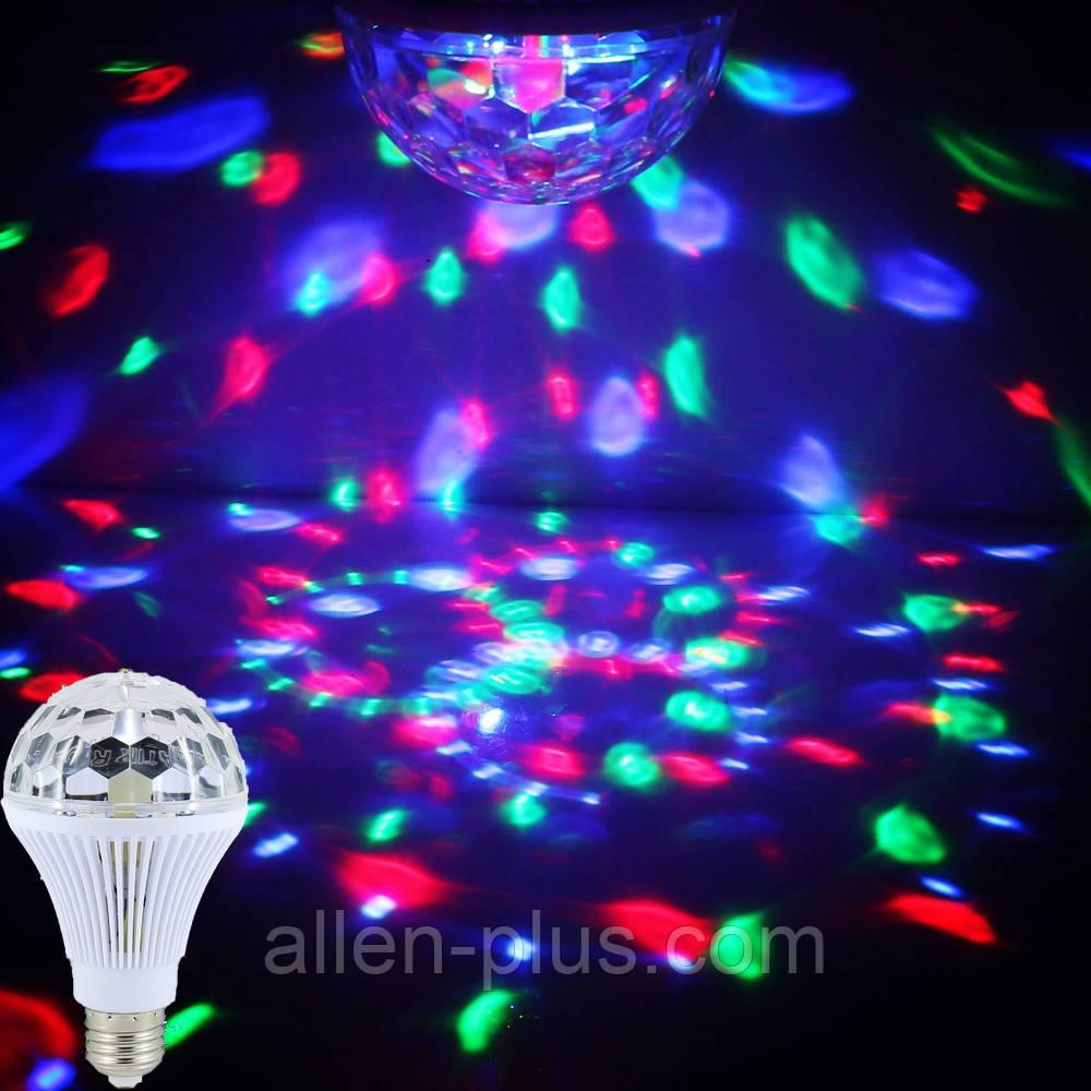 Лампа диско №2, вращающаяся DANCING GRB LED (цоколь Е27)