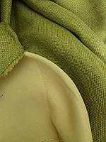 Однотонная портьерная ткань лен/SOFT, оливка, фото 1