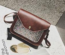 Женская сумка почтальон с блестками, фото 3