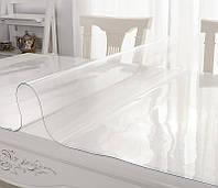 Прозрачная силиконовая скатерть (Жидкое стекло) 800 мкм НА МЕТРАЖ 140 СМ толщина 0,8мм