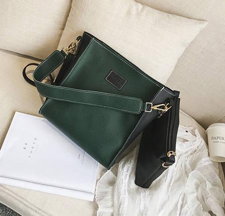 Стильный двухцветный набор сумка и клатч JingPin, фото 2