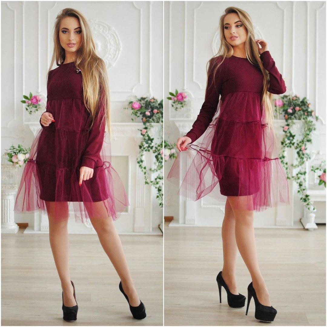 aa7979afd30 Женское стильное платье с фатином -