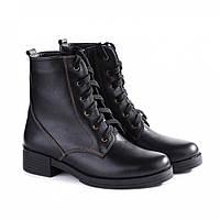 Зимові шкіряні черевики жіночі чорні 2517-05