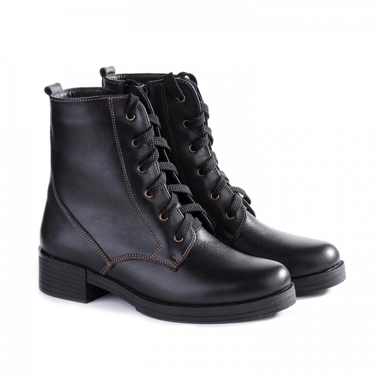 Зимние кожаные ботинки женские 2517-05 черные