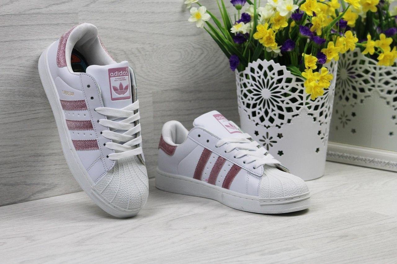 Кроссовки Adidas Superstar женские (белые с розовым), ТОП-реплика