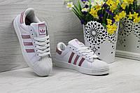 Кроссовки Adidas Superstar женские (белые с розовым), ТОП-реплика, фото 1