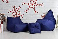 Набір м'яких меблів 3в1 (диван, груша, пуф), синього кольору