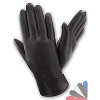 Женские перчатки из натуральной кожи на подкладке из натрального меха модель 136.