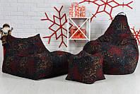 Набір м'яких меблів 3в1 (диван, груша, пуф), темно-червоного кольору