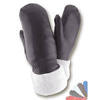 Женские перчатки из натуральной кожи на подкладке из натрального меха модель 168.
