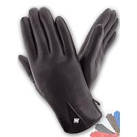 Женские перчатки из натуральной кожи на подкладке из натрального меха модель 213.