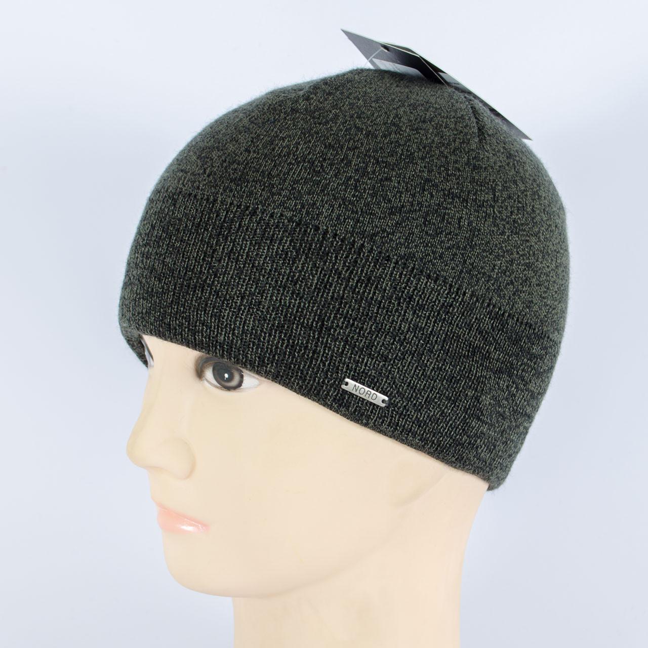 Мужская вязанная шапка на флисе, Серый меланж