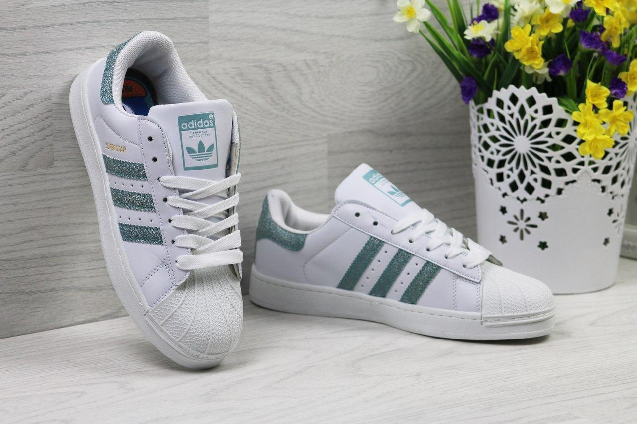 d72ee0e09 Кроссовки Adidas Superstar женские (белые с зеленым), ТОП-реплика -  Интернет-
