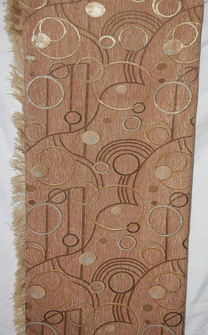 Круги песочный с коричневым двуспальные гобеленовые покрывала (дивандеки), фото 2