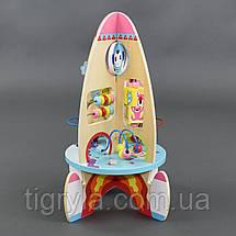 Деревянная игрушка Ракета высота 41см логическая игрушка головоломка, шестеренка, лабиринт, фото 2