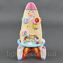 Деревянная игрушка Ракета высота 41см логическая игрушка головоломка, шестеренка, лабиринт, фото 3