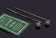 Серебряные серьги пусеты с цепочкой Коко, фото 1
