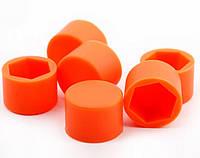 Комплект силиконовых колпачков на колесные гайки 17 мм, красные, круглые