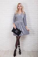 Женское платье велюр с вышивкой р.44-48 AR99120-3