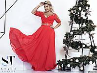 Вечернее платье шифон + атлас + масло (размер универсальный  48-52)