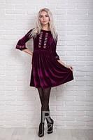 Нарядное женское платье велюр с вышивкой р.44-48 AR98970-3