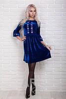 Нарядное женское платье велюр с вышивкой р.44-48 AR98970-4