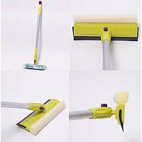 Швабра для окон с губкой и телескопической ручкой 90x20 см Valsar