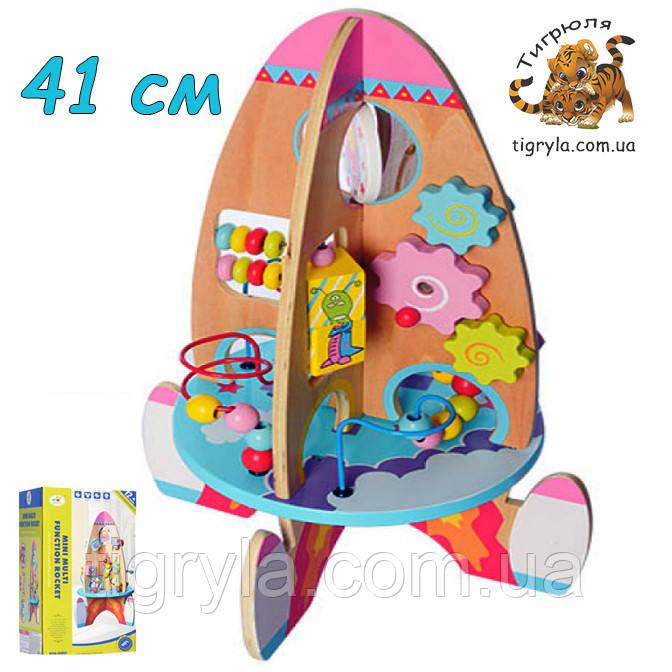 Деревянная игрушка Ракета высота 41см логическая игрушка головоломка, шестеренка, лабиринт