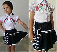 Детская блузка с вышивкой с короткими рукавами
