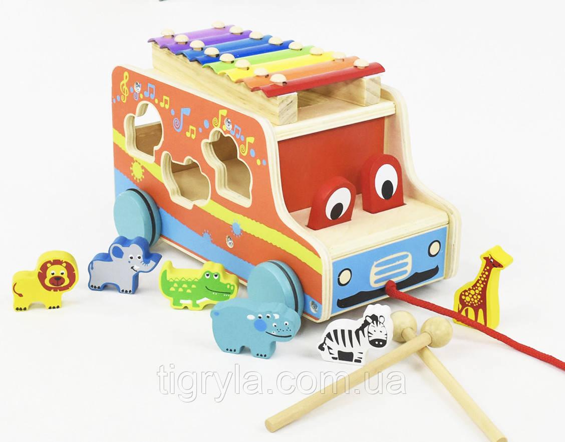 Деревянная игрушка каталка ксилофон сортер