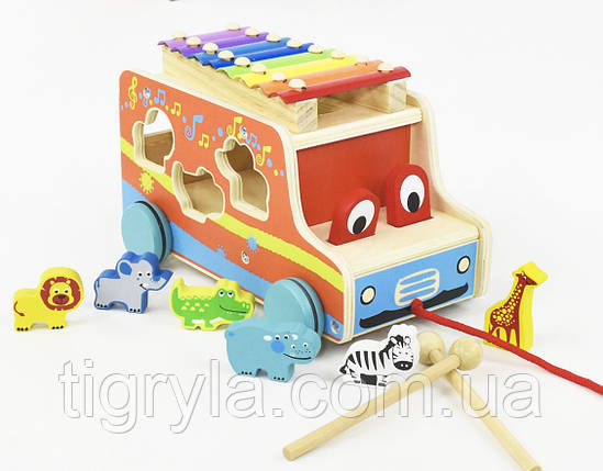 Деревянная игрушка каталка ксилофон сортер, фото 2