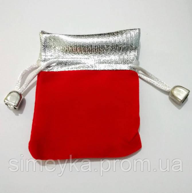 Мешочек бархатный 7х9 см. Красный с серебром